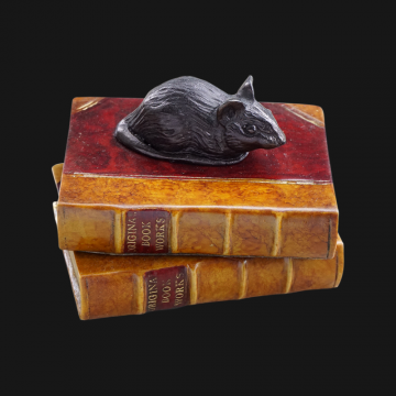 Mouse on Double Book Paperweight