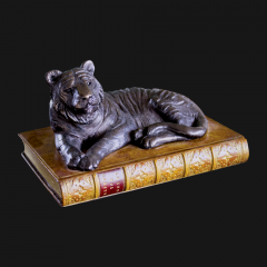 Tiger On Book Paperweight