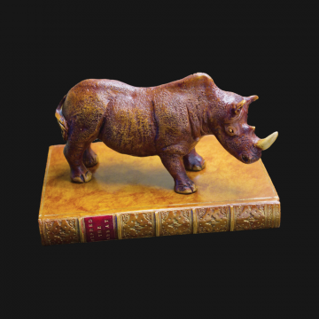 Rhinoceros On Book Paperweight