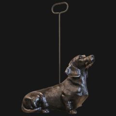 Bronze Dachshund W/Handle