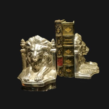 Lion Bookends Silver Plate pair