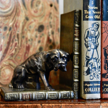 Boxer Bookends Bronzed Pair