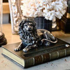 Bronzed Lion Pen Holder