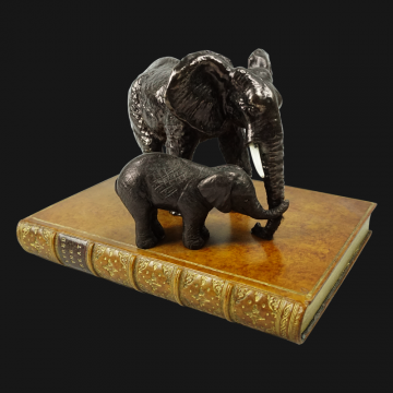 Mother & Baby Elephant On Book Paperweight