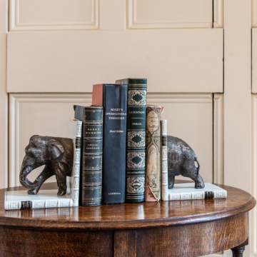 Elephant Halves Bookends Bronzed Pair