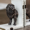 Lion Halves Bookends Bronzed Pair
