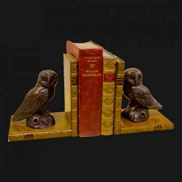 Owl Bookends Bronzed Pair