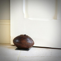 Antique Rugby Ball Doorstop on Steel Base