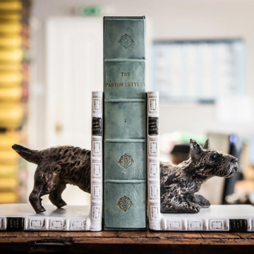 Scottie Dog Halves Bookends Bronzed Pair