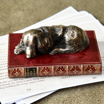 Spaniel On Book Paperweight