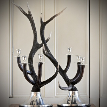 Silver-Plated Antler Candelabra (Single)